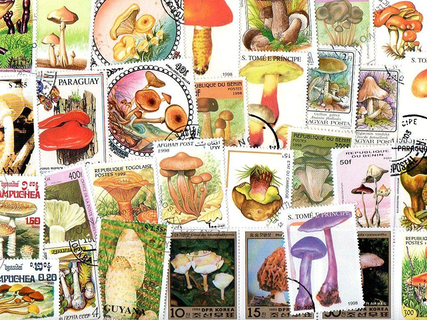 Mushrooms   300 Different Stamps Collection Mixture Packet Stamps For Collectors