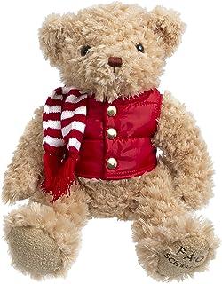 FAO Schwarz 12 Inch Classic Stuffed Plush Teddy Bear in Light Brown with Jacket, Vest & Scarf