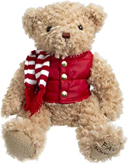 FAO Schwarz 12 Inch Classic Stuffed Plush Teddy Bear in Light Brown with Jacket, Vest & Scarf