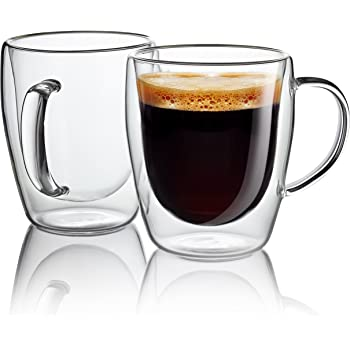 Taza de café de vidrio - tazas de vidrio de pared doble de 300 ml ...