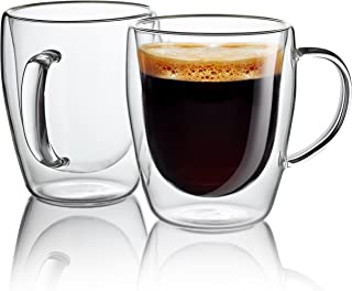 Jecobi Indulge, Set Of 2 Mugs, Strong Double Walled Insulated drinking glasses with handle, 10 oz Glass Coffee Cups Dishwasher. Microwave, freezer with NO RISK.