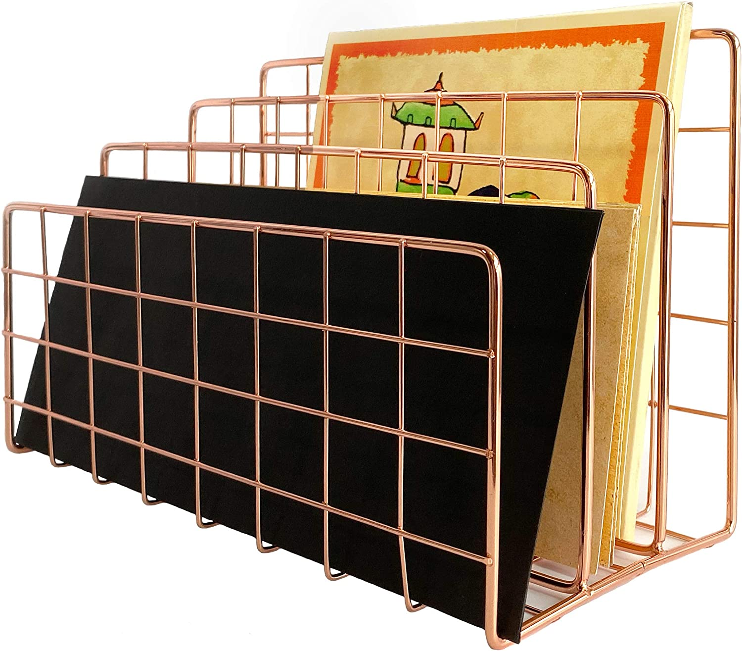 Max 63% OFF Mail Ranking TOP3 Organizer Countertop holder 3-Slot sort Rose mail gold