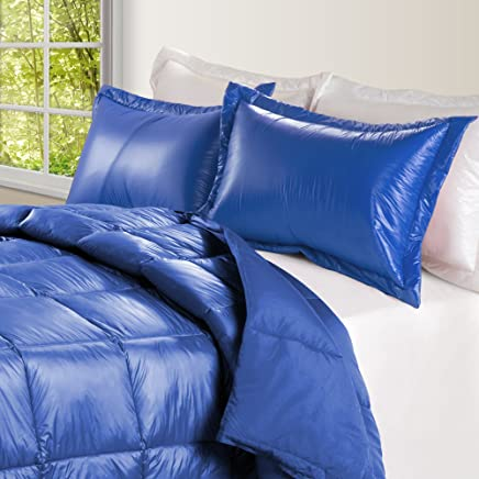 PUFF High Loft Down Indoor/Outdoor Water Resistant Comforter with Extra Strong Nylon Cover,  Full/Queen,  Electric Blue