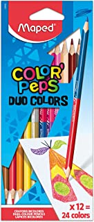 Maped Color'Peps Triangular Colored Pencils Pack Of 12, Duo Tip