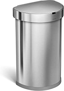 simplehuman 45 Liter / 12 Gallon Stainless Steel Semi-Round Sensor Can, Touchless Automatic Trash Can