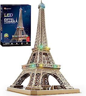 CubicFun Rompecabezas 3D Francia LED Arquitectura Modelo Kits de Construcción Puzzles 3D para Adultos, DIY Papercraft Ligh...