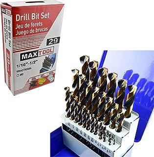 MaxTool 29 Piece Jobber Length Twist Drill Bit Set High Speed Steel M2; 135 DEG Split Point Fully-Ground; JBS02H10R029P