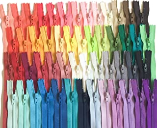 9 Inch Multicolor Pack YKK Zippers Number 3 Nylon Coil Set of 110 Pieces