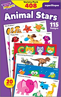 TREND enterprises, Inc. T-46928 Animal Stars superShapes Stickers-Large Variety Pack, 408/Pack