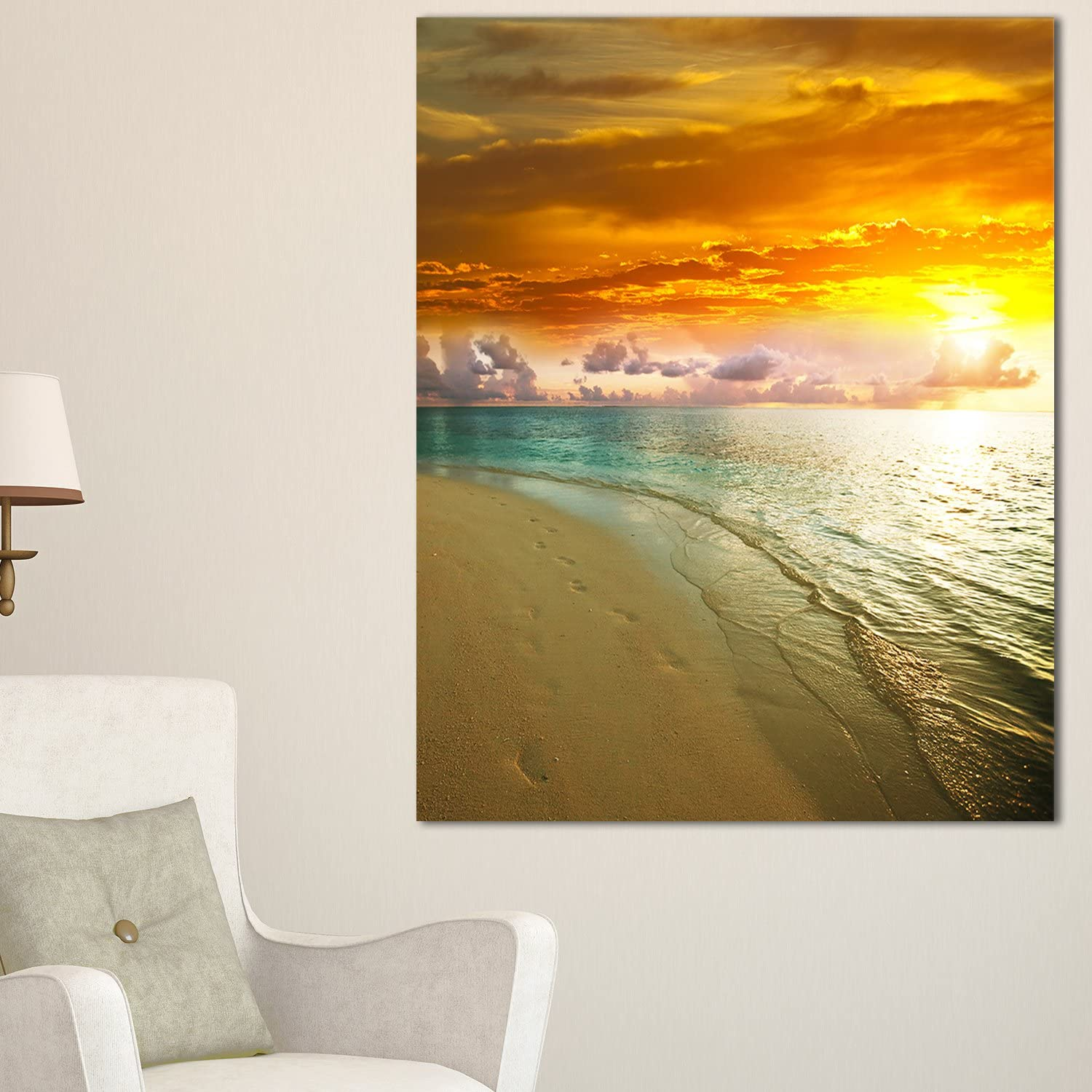 Design Art PT10516-30-40 Amazingly colorful Beach with Footprints-Seashore Canvas Wall Art-30X40, 30x40
