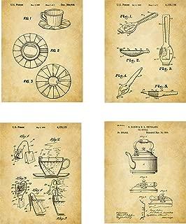 Tea Patent Wall Art Prints - set of Four (8x10) Unframed - wall art decor for tea drinkers