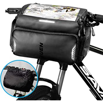 TEUEN Bike Handlebar Bag Large Waterproof Bicycle Front Bag with Phone/GPS Pocket, Electric Scooter Cycling Handlebar Bags Touchscreen Bike Front Frame Top Tube Storage Bag with Rain Cover