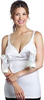 Essential Pump&Nurse Tank, a All-in-one Hands-Free Pumping and Nursing Bra for All Breast Pumps - Medela, Spectra, Lansinoh, Philips Avent, Ameda, etc - White, XS