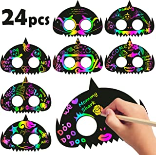 MALLMALL6 24Pcs Little Shark Mask Rainbow Scratch Art Shark DIY Masks Party Favors Color Reveal Scratch Paper Sharks Theme Birthday Party Games Supplies Dress Up Costumes Crafts Kit for Boys Girls