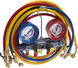 Yellow Jacket 46013 Brute II Test and Charging Manifold, F/C, Red/Blue Gauge, psi, R-22/404A/410A Brand Yellow Jacket