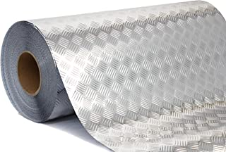 Industrial Utility Diamond Plate Metallic Chrome Finish Vinyl Wrap Underlayer Contact Paper Adhesive Roll for Shelves Walls Flooring (17.8