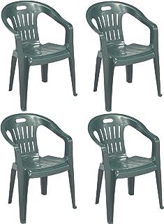 Progarden Diva - Juego de 4 sillones Piona de Resina Dura de plástico Verde apilable con reposabrazos para casa, jardín, Bar o Camping