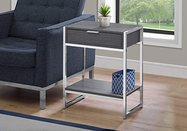 Monarch Specialties I I 3484 Accent END Table Night Stand Grey