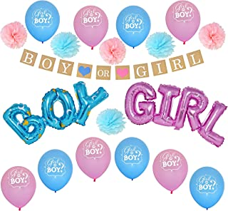 Super Deluxe 38 Piece Gender Reveal Party Supplies Set, Boy and Girl Inflatable Foil Decorations Set Including A Banner, Latex Balloons, Inflatable Foil and Paper Flowers