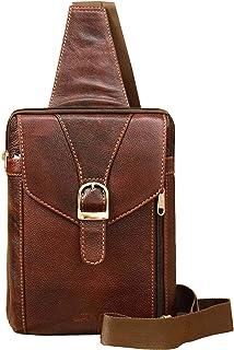 ABYS Genuine Leather Chest Bags||Body Bag||Cash Bag||Neck Pouch||Shoulder Bag for Men & Women (Dark Brown)