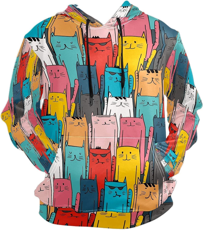 Men's Sport Hoodie Funny Cat Head Multicolor Big and Tall Hoodies for Men Women Oversized Hooded Sweatshirt Hip Hop Pullover Hoodie Midweight Hood for Boys Girls