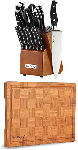 """discount McCook MC23A German Stainless Steel Knife Block Sets with popular Built-in Sharpener + MCW12 Bamboo lowest Cutting Board (Small, 14""""x10""""x0.8"""") online"""