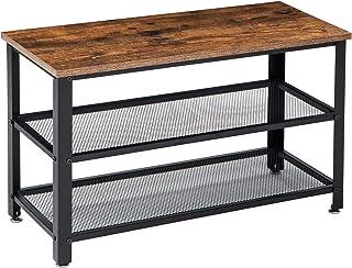 IBUYKE Shoe Bench Rack, 3-Tier Shoe Shelf, Industrial Shoe Storage Organizer with 2 Metal Mesh Shelves, for Entryway Hallw...