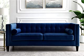Inspired Home Navy Velvet Sofa - Design: Lotte | Tufted | Square Arms | Tapered Legs | Contemporary