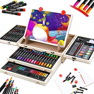 Kids Art Set 108 Piece with Drawing Easel, Professional Art Supplies in Portable Wooden Case Included Oil Pastels, Marker...