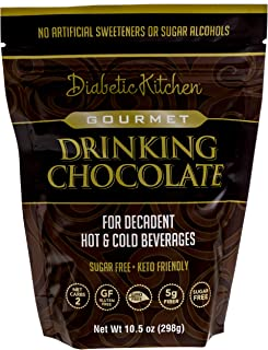 Diabetic Kitchen Gourmet Drinking Chocolate is Sugar-Free, Keto-Friendly, Low-Carb Cocoa, No Artificial Sweeteners or Sugar Alcohols, For A Decadent Hot Or Cold Drink (19 Servings)
