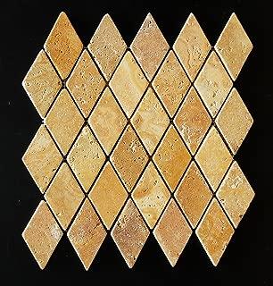 Gold / Yellow Travertine 2X4 Diamond / Rhomboid Tumbled Mosaic Tile