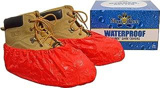ShuBee Waterproof Shoe Covers, Red (40 Pair)