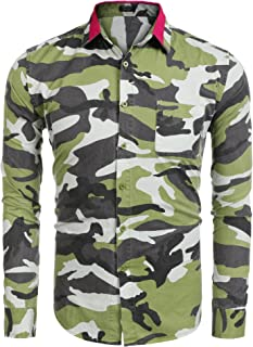 Men's Fashion Print Camouflage Button Down Shirts Short/Long Sleeve Camo Slim Fit Dress Shirt