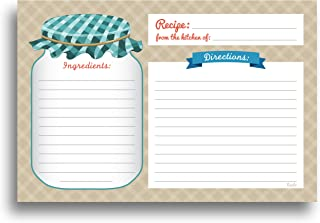 Mason Jar Recipe Cards - 50 Double Sided Cards, 4x6 inches. Thick Card Stock