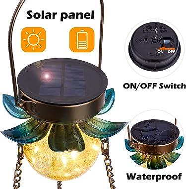 Birdream Solar Bird Feeder for Outside Hanging Metal Wild Bird feeders Tray with 3 Glass Cups Decorative Solar Garden Crackle