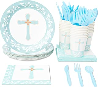 Religious Party Supplies, Paper Plates, Napkins, Cups and Plastic Cutlery (Serves 24, 144 Pieces)