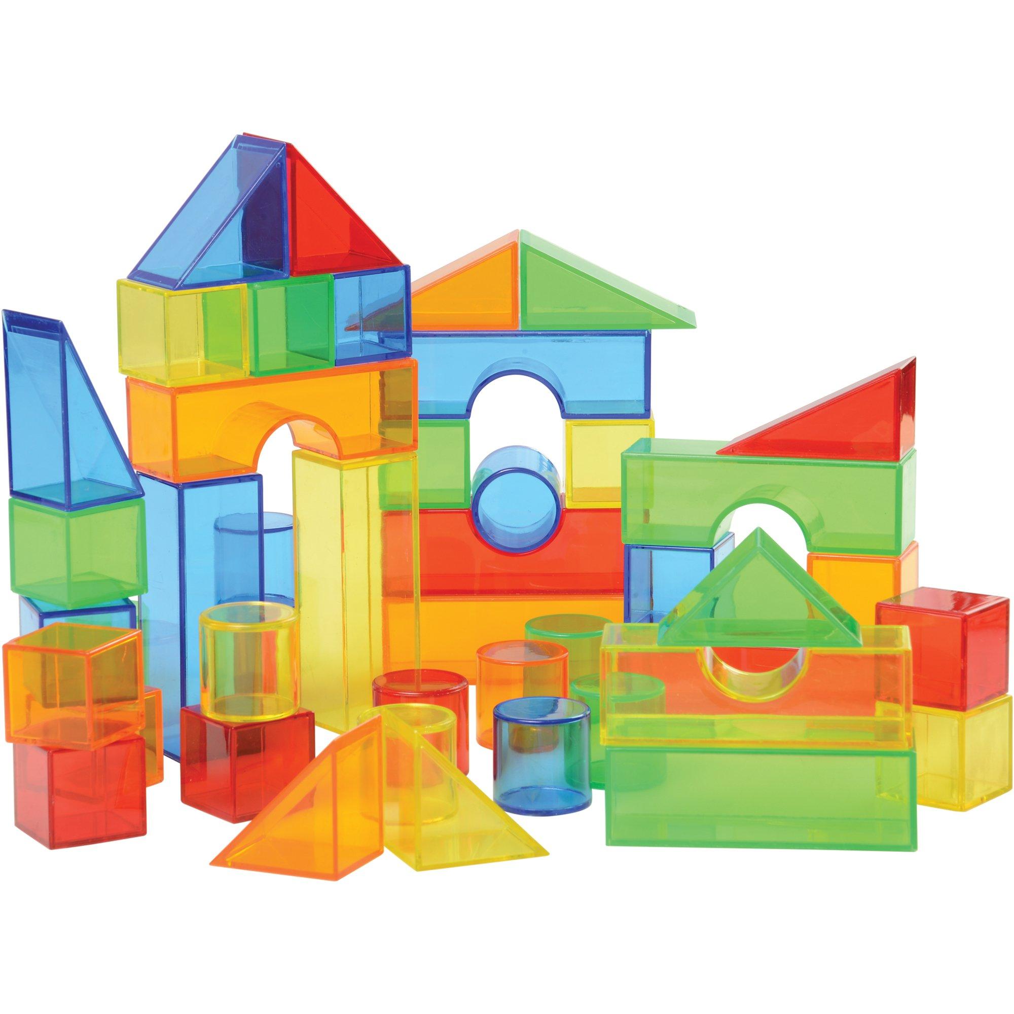 Juego de 50 Bloques de Colores translúcidos para construcción y Mesa de luz: Amazon.es: Juguetes y juegos