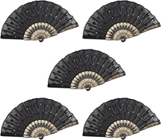 Set of 5 Black Chinese Japanese Lace Floral Folding Hand Pocket Fans