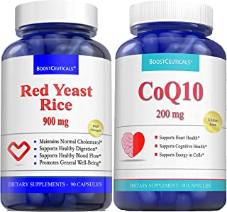 Red Rice Yeast for Cholesterol CoQ10 200 mg 180 capsule Bundle - No Additives Pure Natural 1800 mg Daily Dose Red Yeast Ri...