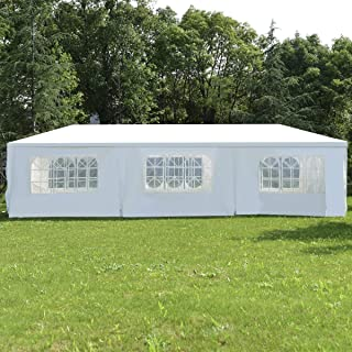 Ecolinear 10' x 30' Outdoor Gazebo Wedding Party Tent Canopy PE White w/ 8 Removable Wall