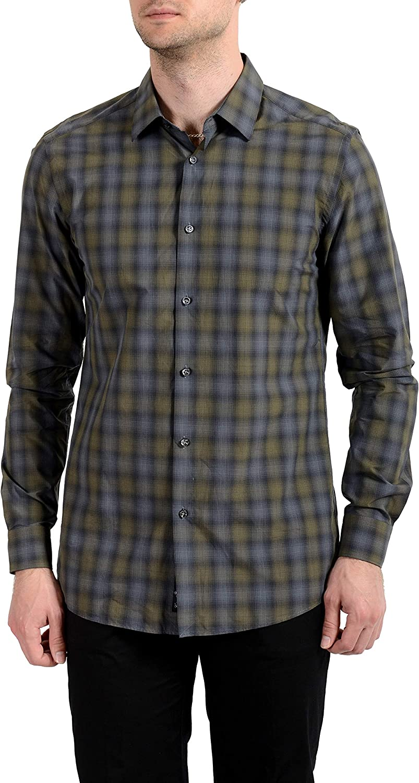Hugo Boss Men's T-Charli Plaid Slim Fit Long Sleeves Dress Shirt US 15.75 IT 40