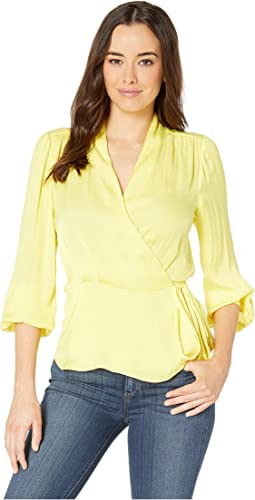 Long Sleeve Peplum Hem Wrap Front Rumple Blouse