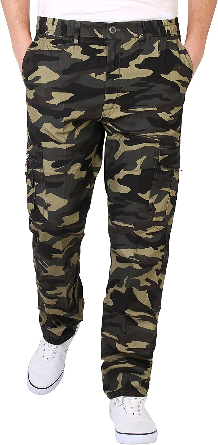 2019  Men/'s Casual Combat Cargo Pants British Style Camouflage Pants Trousers