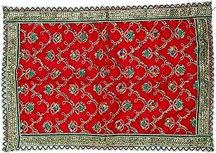 Red Chunari Decorative Velvet Cloth Puja Chunni Chunar (Size :- 12 Inches x 18 Inches) Aasan Mat