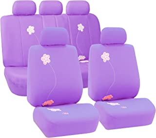 FH Group Universal Fit Full Set Floral Embroidery Design Car Seat Cover, (Purple) (FH-FB053115, Airbag Compatible and Split Bench, Fit Most Car, Truck, SUV, or Van)
