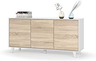 Habitdesign Aparador Buffet Salón Comedor 3 Puertas Modelo Zaiken Plus Color Blanco Brillo y Roble Canadian Medidas: ...