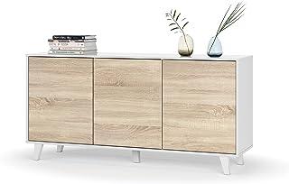 Habitdesign 0F6638BO - Aparador Buffet salón Comedor 3 Puertas Color Blanco Brillo y Roble Canadian Medidas: 154 x 75 x ...