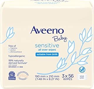 Aveeno Baby Sensitive All Over Wipes, Hypoallergenic & Fragrance-Free, 3 Pack of 56 Ct, 168Count