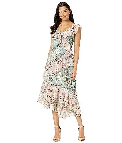 Maggy London Digital Chiffon Cascade Tiered Flounce Dress (Coral/Sage) Women