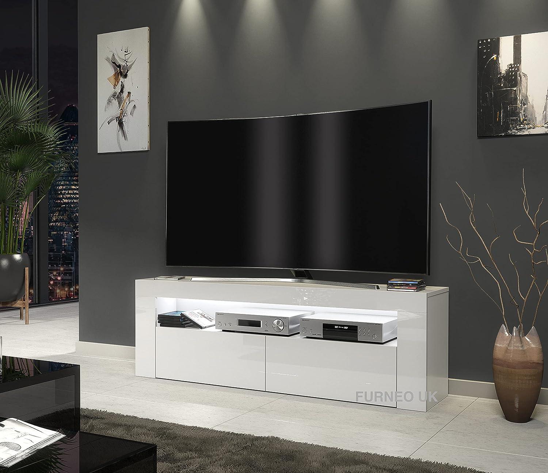 Furneo White TV Stand 10cm Cabinet Unit High Gloss & Matt Clifton10 RGB  multicoloured LED Lights